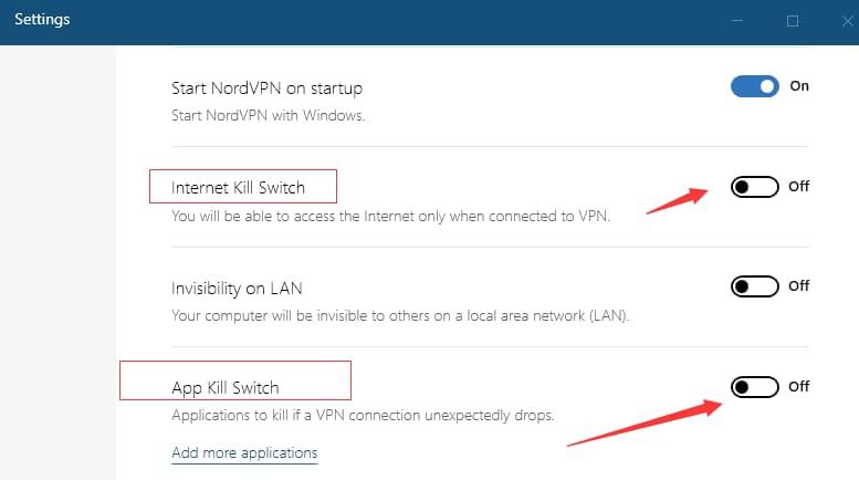 使用nordvpn开启Internet Kill Switch 和 App Kill Switch