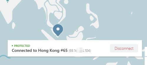 使用nordvpn连接了香港节点